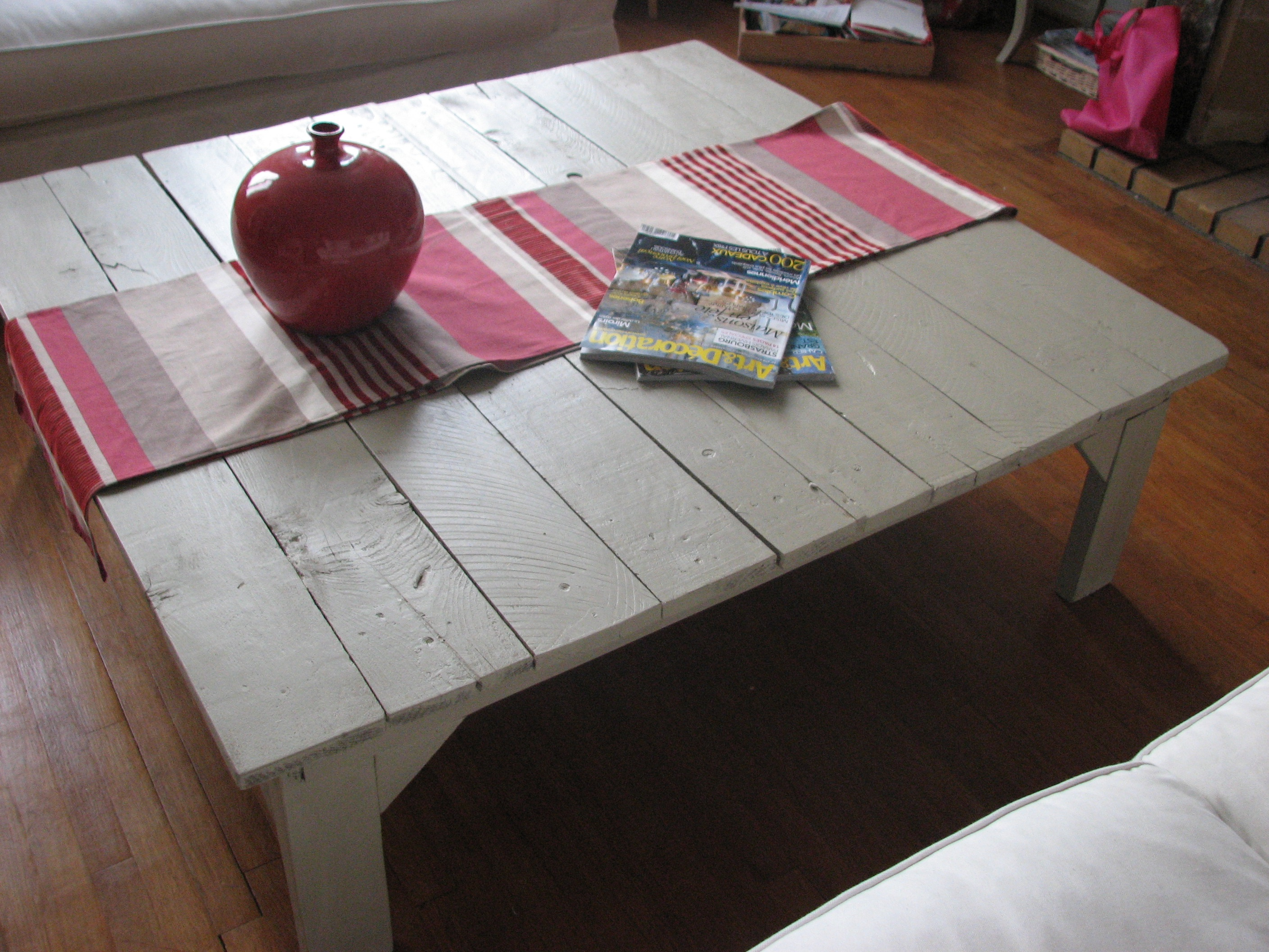 Table basse en palette fait maison - Table basse palette blanche ...